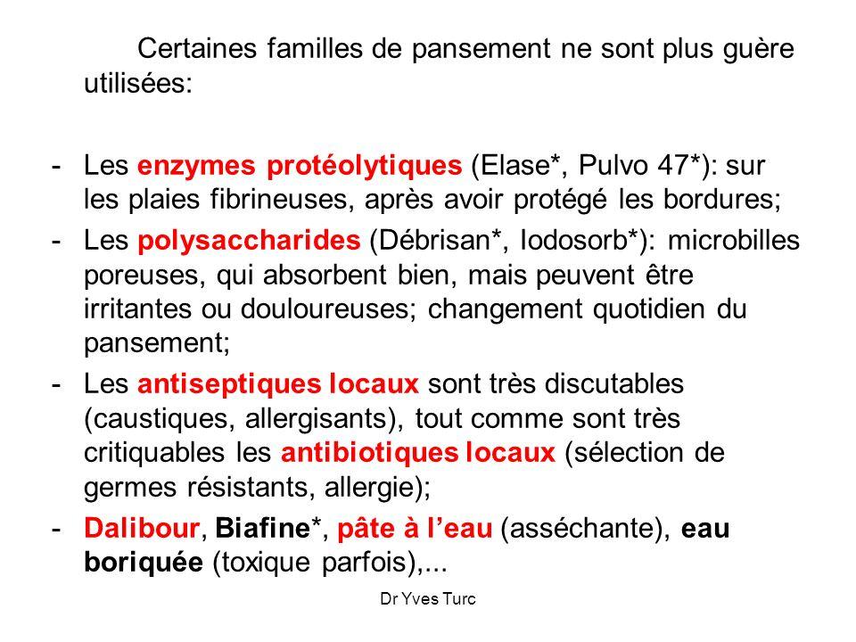 Dr Yves Turc Certaines familles de pansement ne sont plus guère utilisées: -Les enzymes protéolytiques (Elase*, Pulvo 47*): sur les plaies fibrineuses