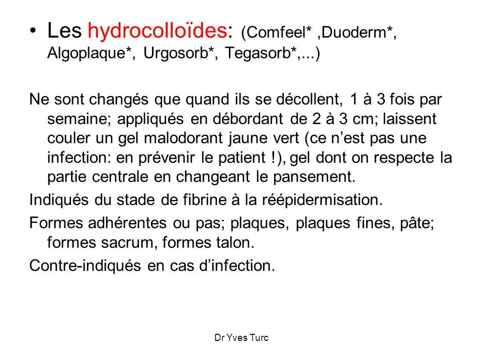 Dr Yves Turc Les hydrocolloïdes: (Comfeel*,Duoderm*, Algoplaque*, Urgosorb*, Tegasorb*,...) Ne sont changés que quand ils se décollent, 1 à 3 fois par