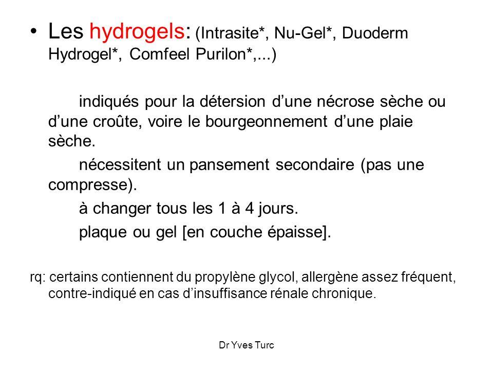 Dr Yves Turc Les hydrogels: (Intrasite*, Nu-Gel*, Duoderm Hydrogel*, Comfeel Purilon*,...) indiqués pour la détersion dune nécrose sèche ou dune croût