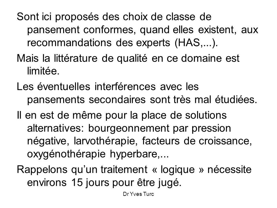 Dr Yves Turc Sont ici proposés des choix de classe de pansement conformes, quand elles existent, aux recommandations des experts (HAS,...). Mais la li
