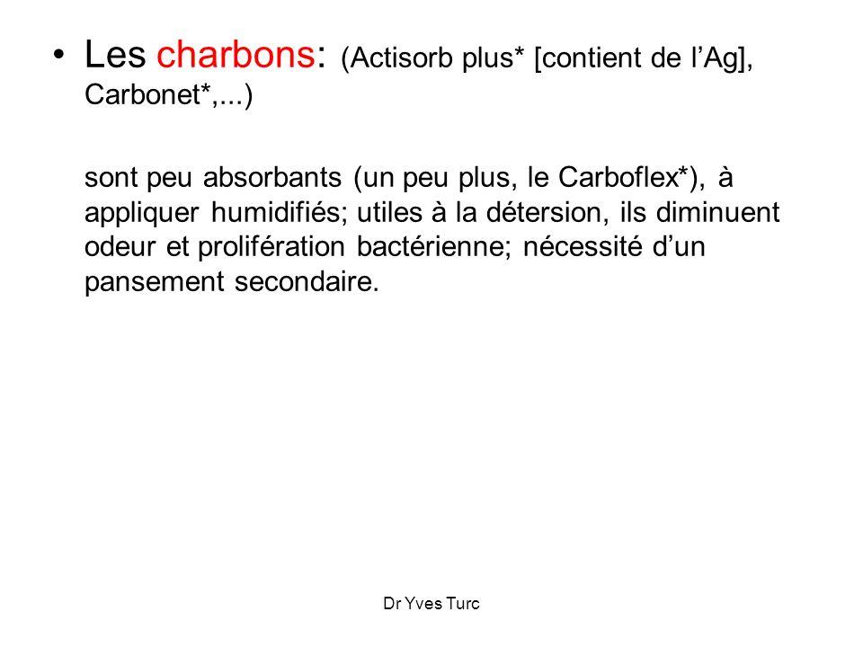Dr Yves Turc Les charbons: (Actisorb plus* [contient de lAg], Carbonet*,...) sont peu absorbants (un peu plus, le Carboflex*), à appliquer humidifiés;