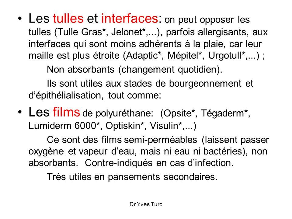 Dr Yves Turc Les tulles et interfaces: on peut opposer les tulles (Tulle Gras*, Jelonet*,...), parfois allergisants, aux interfaces qui sont moins adh