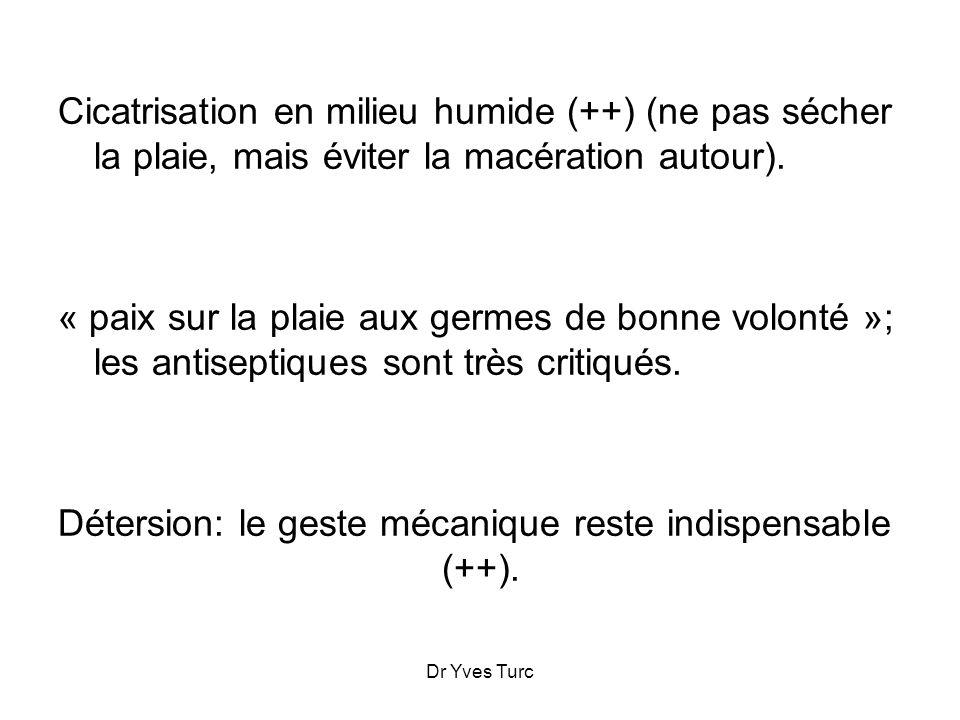 Dr Yves Turc Cicatrisation en milieu humide (++) (ne pas sécher la plaie, mais éviter la macération autour). « paix sur la plaie aux germes de bonne v