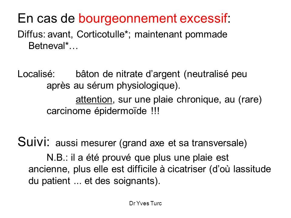 En cas de bourgeonnement excessif: Diffus: avant, Corticotulle*; maintenant pommade Betneval*… Localisé: bâton de nitrate dargent (neutralisé peu aprè