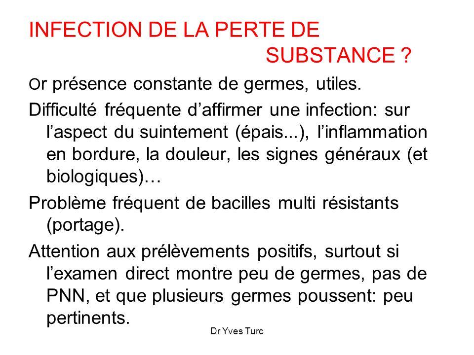 Dr Yves Turc INFECTION DE LA PERTE DE SUBSTANCE ? O r présence constante de germes, utiles. Difficulté fréquente daffirmer une infection: sur laspect