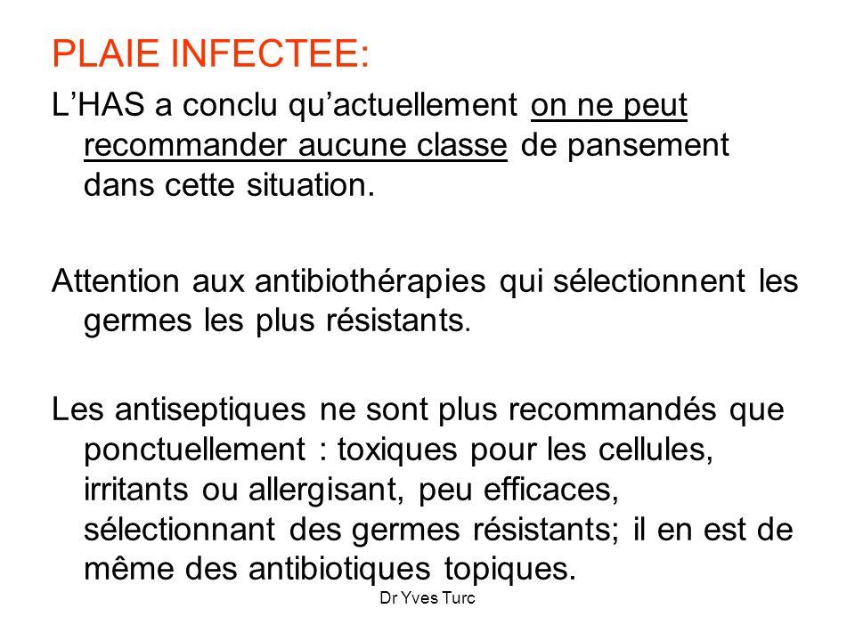 Dr Yves Turc PLAIE INFECTEE: LHAS a conclu quactuellement on ne peut recommander aucune classe de pansement dans cette situation. Attention aux antibi