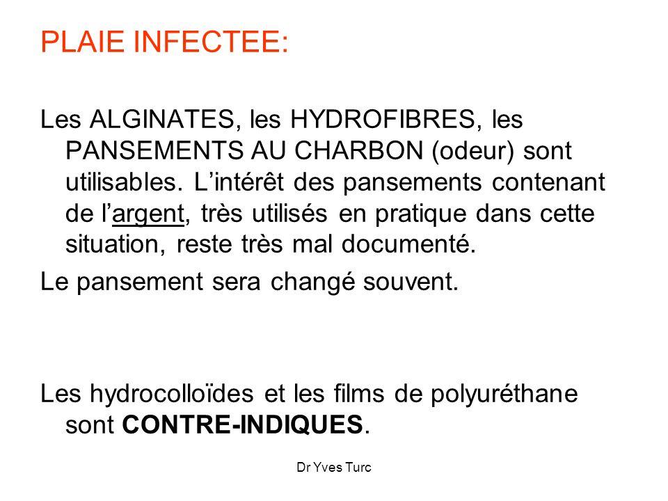 Dr Yves Turc PLAIE INFECTEE: Les ALGINATES, les HYDROFIBRES, les PANSEMENTS AU CHARBON (odeur) sont utilisables. Lintérêt des pansements contenant de
