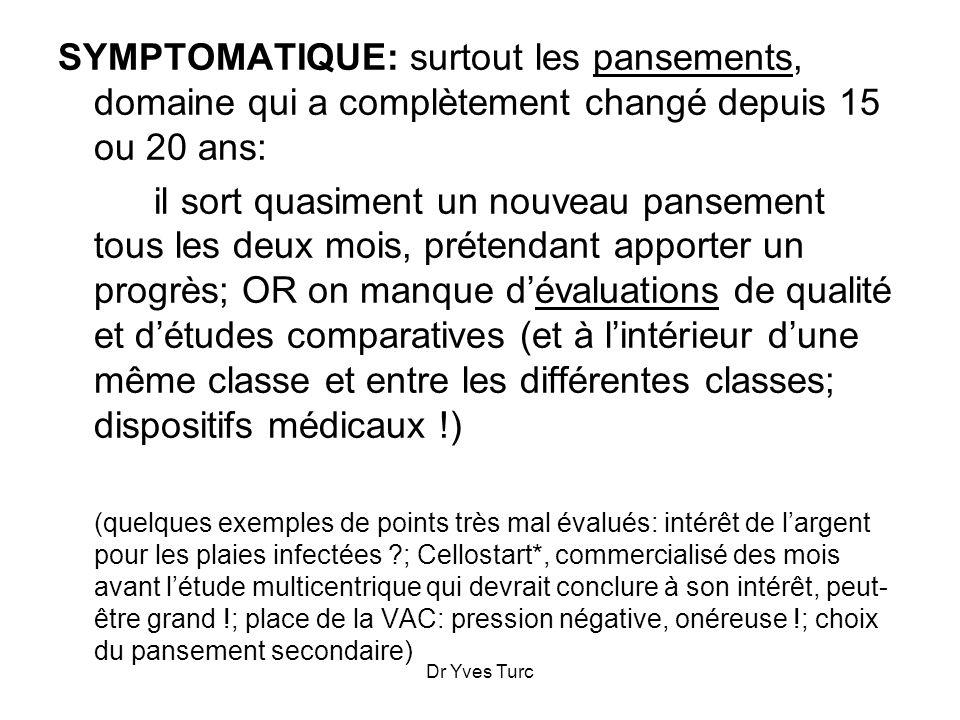 Dr Yves Turc SYMPTOMATIQUE: surtout les pansements, domaine qui a complètement changé depuis 15 ou 20 ans: il sort quasiment un nouveau pansement tous