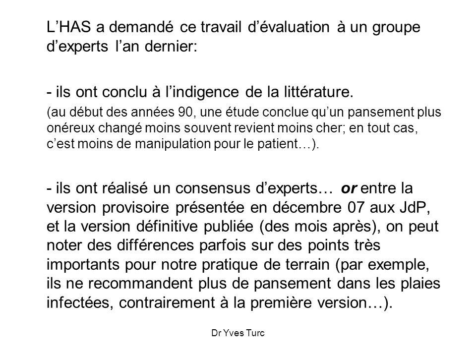 Dr Yves Turc LHAS a demandé ce travail dévaluation à un groupe dexperts lan dernier: - ils ont conclu à lindigence de la littérature. (au début des an