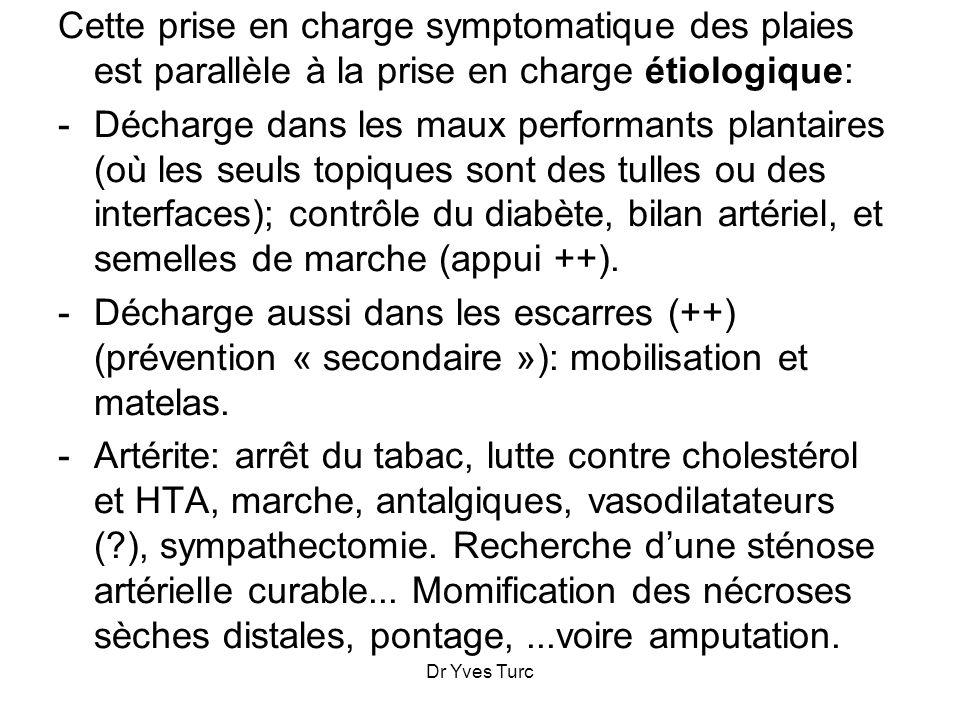 Dr Yves Turc Les hydrogels: (Intrasite*, Nu-Gel*, Duoderm Hydrogel*, Comfeel Purilon*,...) indiqués pour la détersion dune nécrose sèche ou dune croûte, voire le bourgeonnement dune plaie sèche.