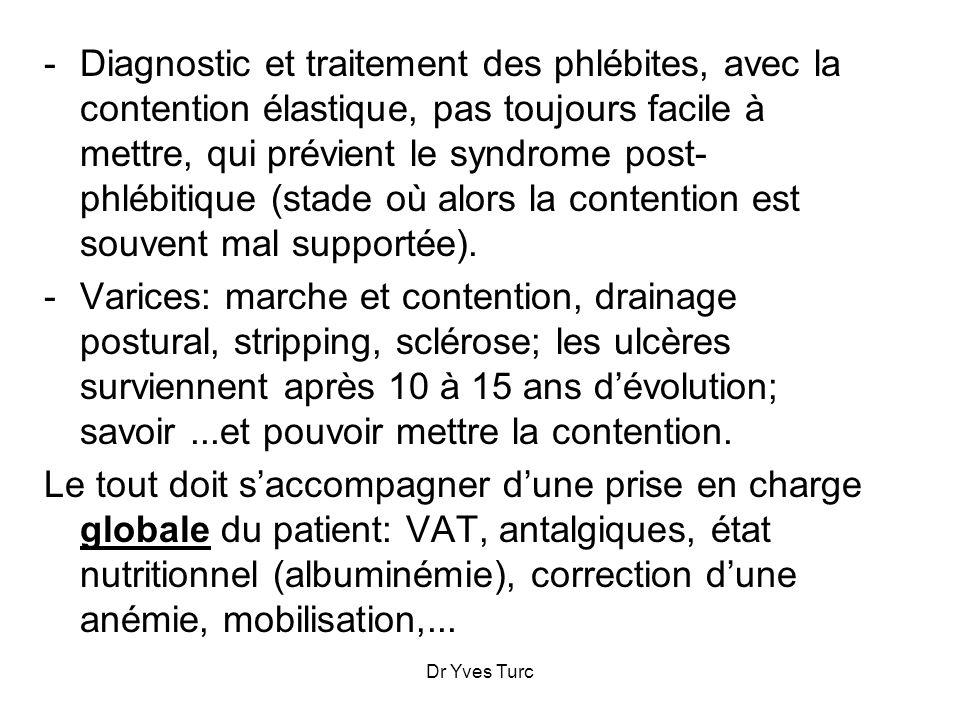 Dr Yves Turc -Diagnostic et traitement des phlébites, avec la contention élastique, pas toujours facile à mettre, qui prévient le syndrome post- phléb