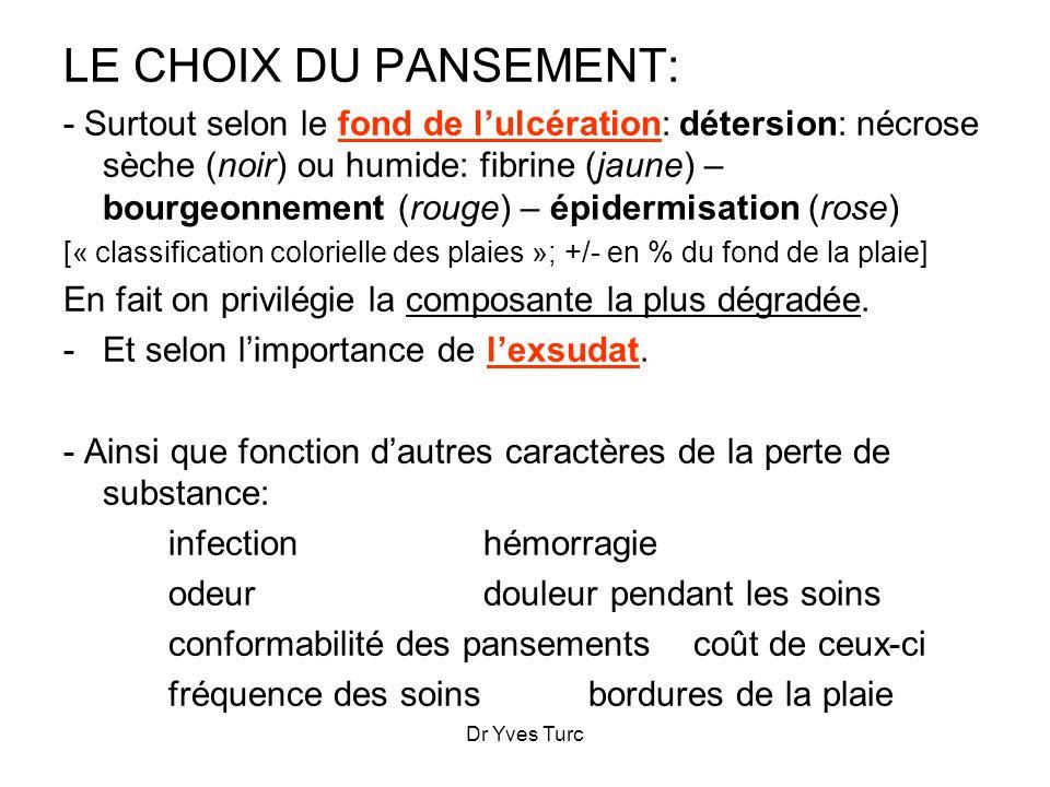 Dr Yves Turc LE CHOIX DU PANSEMENT: - Surtout selon le fond de lulcération: détersion: nécrose sèche (noir) ou humide: fibrine (jaune) – bourgeonnemen