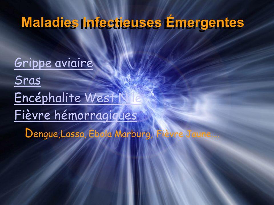 Maladies Infectieuses Émergentes Grippe aviaire Sras Encéphalite West Nile Fièvre hémorragiques D engue,Lassa, Ebola Marburg, Fièvre Jaune….