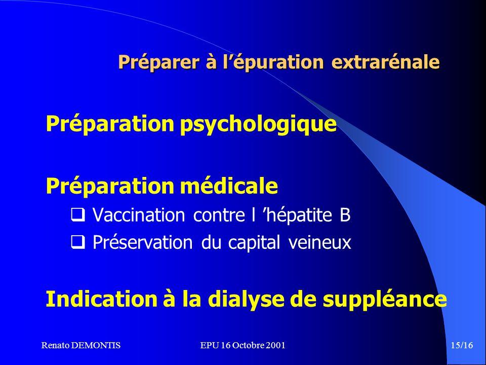 Renato DEMONTISEPU 16 Octobre 2001 15/16 Préparer à lépuration extrarénale Préparation psychologique Préparation médicale Vaccination contre l hépatite B Préservation du capital veineux Indication à la dialyse de suppléance