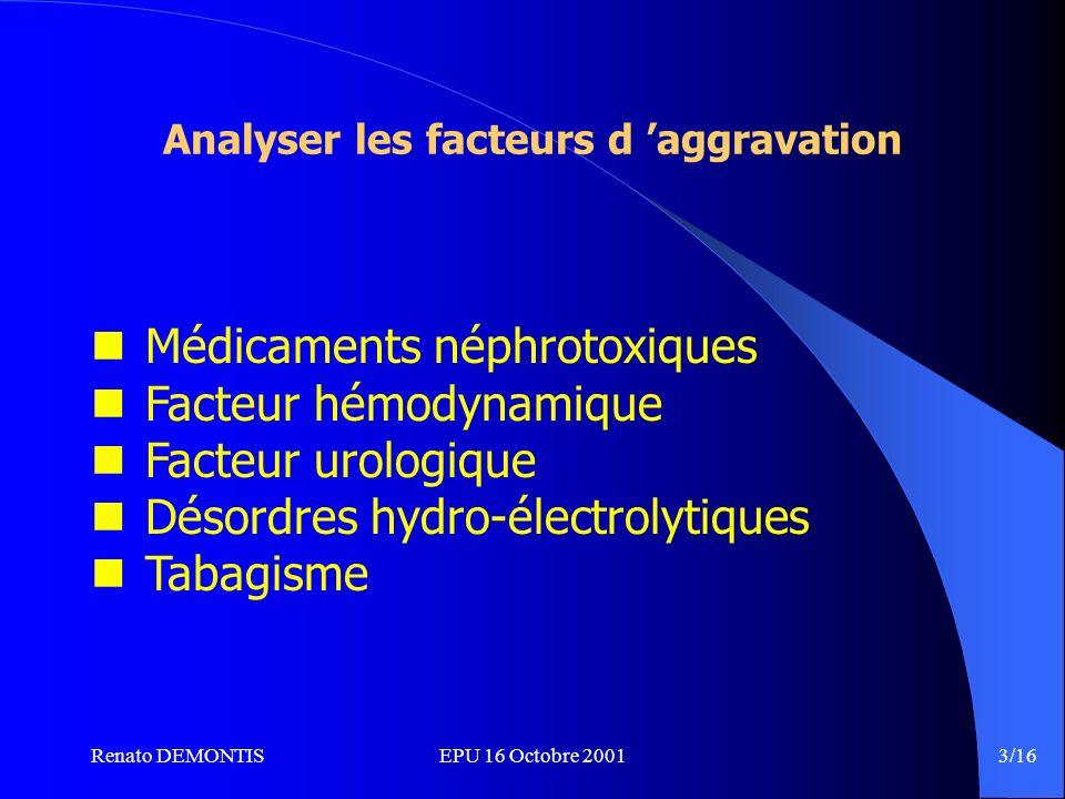 Renato DEMONTISEPU 16 Octobre 2001 3/16 Analyser les facteurs d aggravation Médicaments néphrotoxiques Facteur hémodynamique Facteur urologique Désordres hydro-électrolytiques Tabagisme