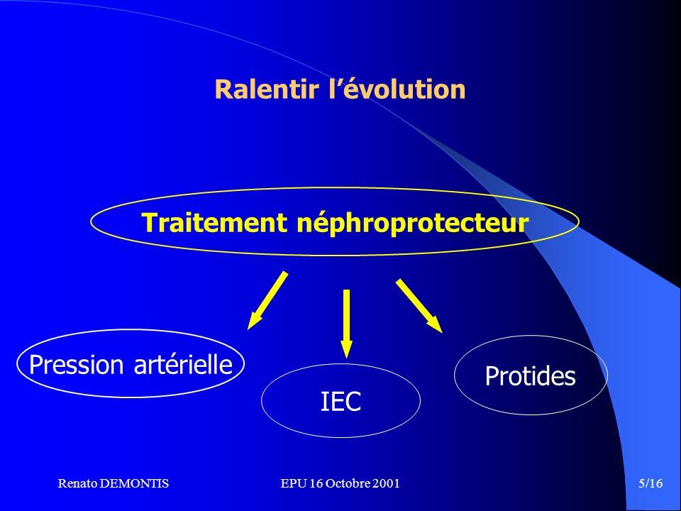 Renato DEMONTISEPU 16 Octobre 2001 5/16 Traitement néphroprotecteur Ralentir lévolution Pression artérielle IEC Protides