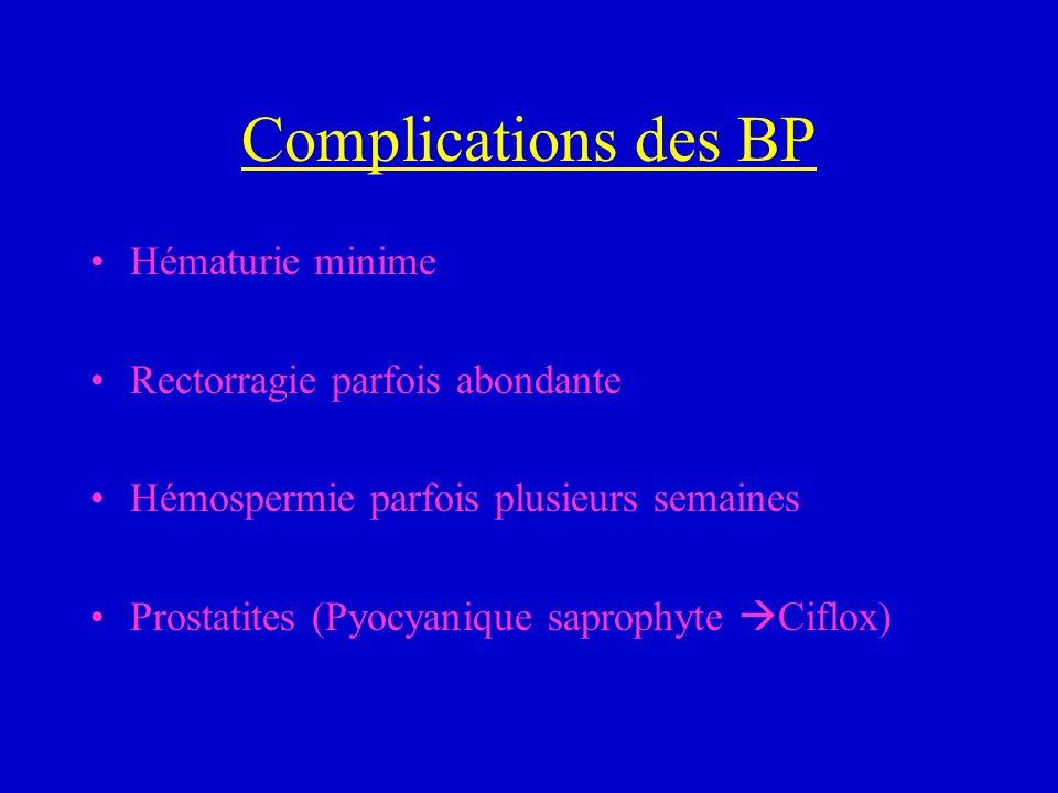 Complications des BP Hématurie minime Rectorragie parfois abondante Hémospermie parfois plusieurs semaines Prostatites (Pyocyanique saprophyte Ciflox)