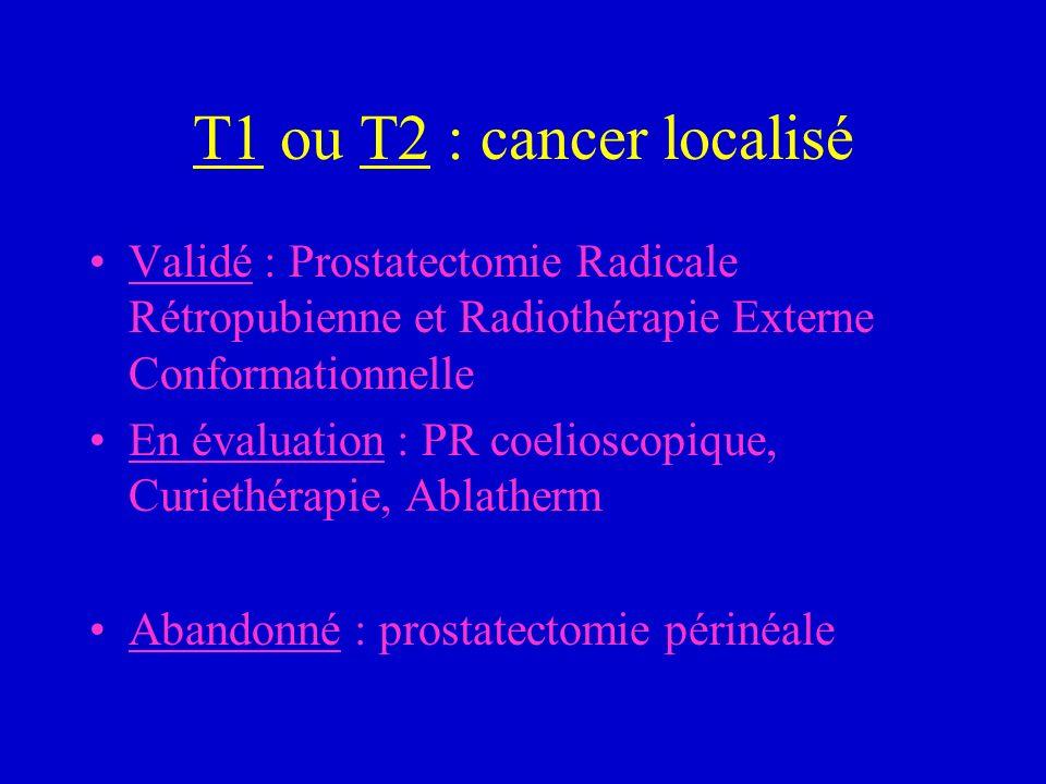 T1 ou T2 : cancer localisé Validé : Prostatectomie Radicale Rétropubienne et Radiothérapie Externe Conformationnelle En évaluation : PR coelioscopique
