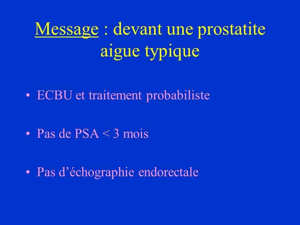 Message : devant une prostatite aigue typique ECBU et traitement probabiliste Pas de PSA < 3 mois Pas déchographie endorectale