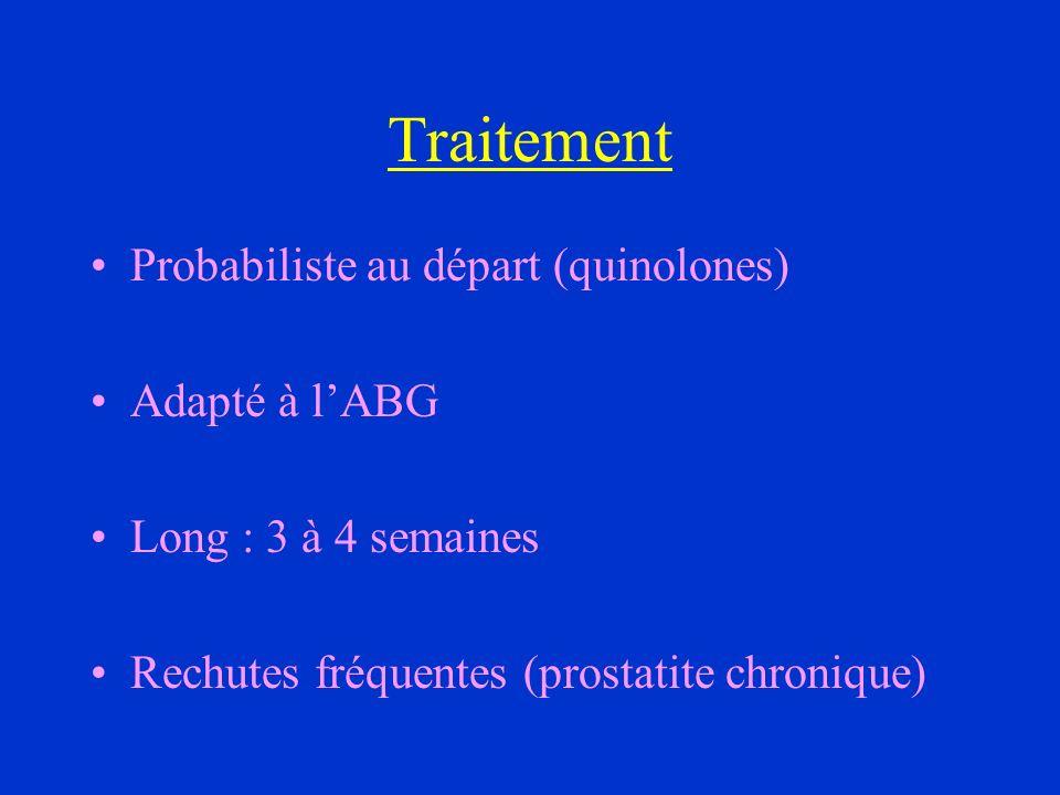 Traitement Probabiliste au départ (quinolones) Adapté à lABG Long : 3 à 4 semaines Rechutes fréquentes (prostatite chronique)