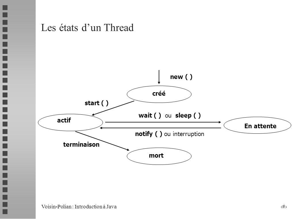 Voisin-Polian : Introduction à Java 9 Utilisation de linterface Runnable (suite) public class Train implements Runnable { int v; String nom; public Tr