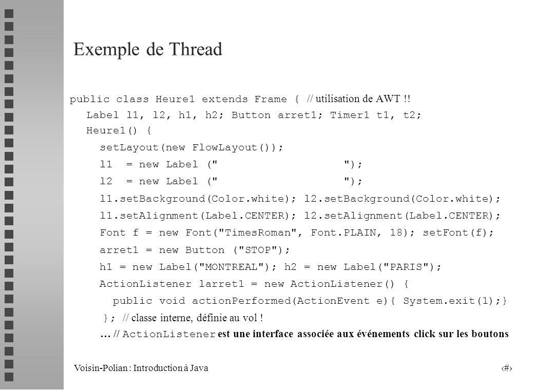 Voisin-Polian : Introduction à Java 11 Les principales méthodes liées aux threads statiques : currentThread() activeCount() // threads démarrés et pas