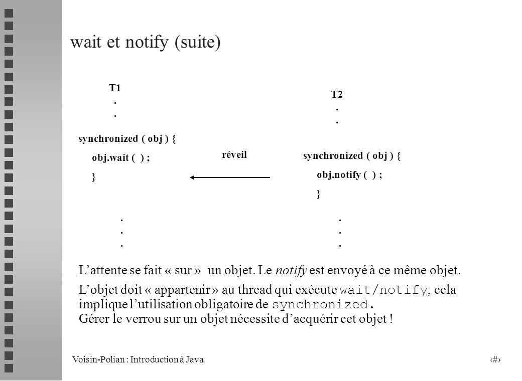 Voisin-Polian : Introduction à Java 21 Les appels wait et notify wait bloque lexécution du thread jusquà réception dune « notification » envoyée par u