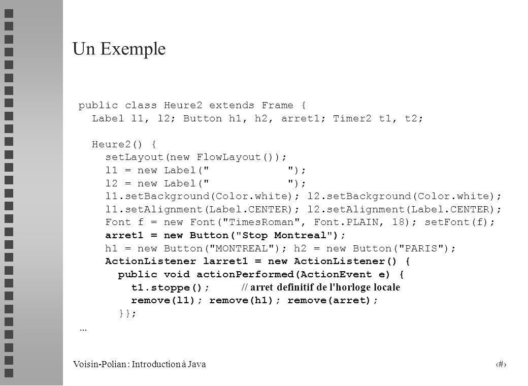 Voisin-Polian : Introduction à Java 22 wait et notify (suite) synchronized ( obj ) { obj.wait ( ) ; } synchronized ( obj ) { obj.notify ( ) ; } T1.. T