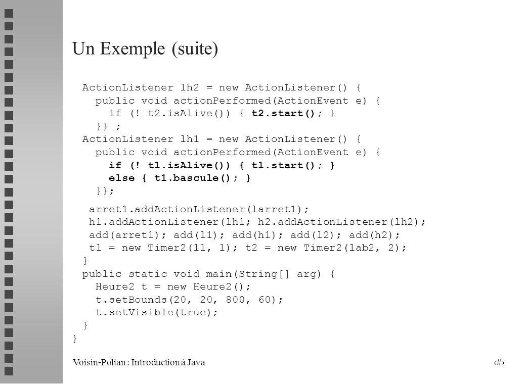 Voisin-Polian : Introduction à Java 23 Un Exemple public class Heure2 extends Frame { Label l1, l2; Button h1, h2, arret1; Timer2 t1, t2; Heure2() { s