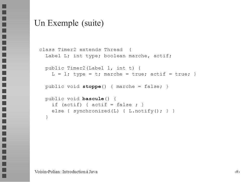 Voisin-Polian : Introduction à Java 24 Un Exemple (suite) ActionListener lh2 = new ActionListener() { public void actionPerformed(ActionEvent e) { if