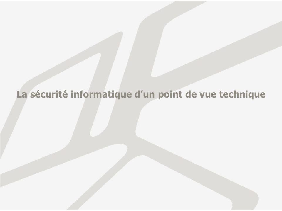 Quelques chiffres Le CERT CC, organisme de recensement et de publication des problèmes de vulnérabilité fournit les chiffres suivants (vulnérabilités déclarées): 2000-2004 Year20002001200220031Q-3Q 2004 Vulnerabilities1,0902,4374,1293,7842,683 2000-2003 Year2000200120022003 Incidents21,75652,65882,094137,529 Les chiffres des incidents (liés à des piratages) déclarés sont: Le chiffrement des pertes liées aux agressions informatiques est impossible à effectuer de manière fiable: incidents pas toujours déclarés, outils de calcul non disponibles, recensement international difficile.