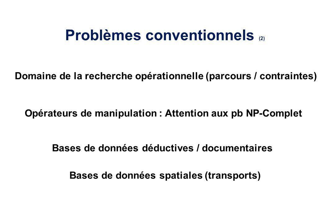Problèmes conventionnels (2) Domaine de la recherche opérationnelle (parcours / contraintes) Bases de données déductives / documentaires Opérateurs de