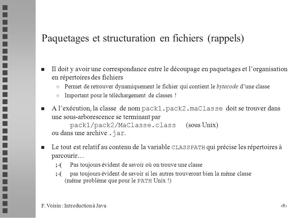 F. Voisin : Introduction à Java 10 Paquetages et structuration en fichiers (rappels) n Il doit y avoir une correspondance entre le découpage en paquet