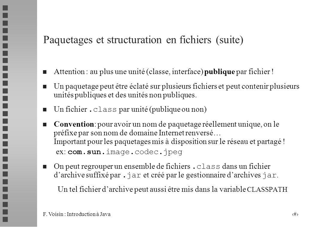 F. Voisin : Introduction à Java 11 Paquetages et structuration en fichiers (suite) n Attention : au plus une unité (classe, interface) publique par fi