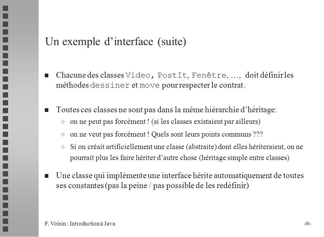 F. Voisin : Introduction à Java 4 Un exemple dinterface (suite) Chacune des classes Video, PostIt, Fenêtre, …, doit définir les méthodes dessiner et m