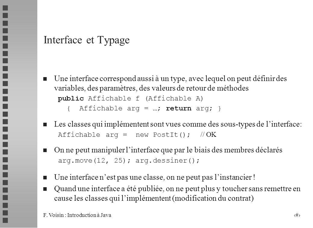 F. Voisin : Introduction à Java 5 Interface et Typage n Une interface correspond aussi à un type, avec lequel on peut définir des variables, des param