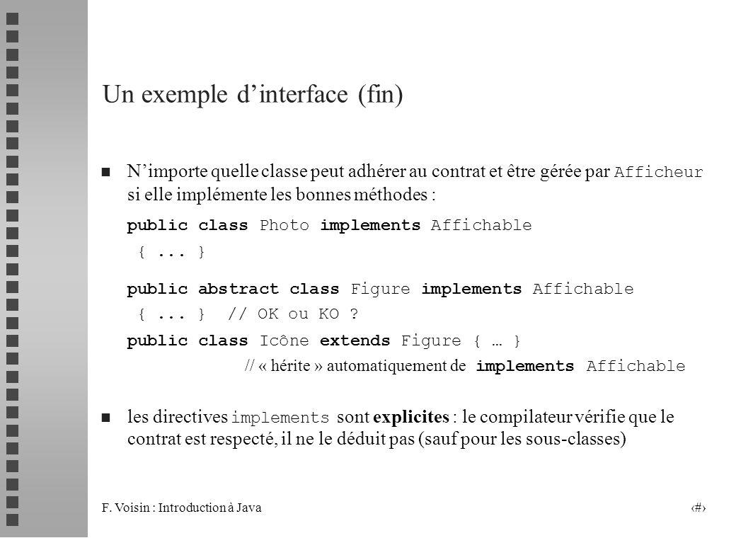 F. Voisin : Introduction à Java 7 Un exemple dinterface (fin) Nimporte quelle classe peut adhérer au contrat et être gérée par Afficheur si elle implé
