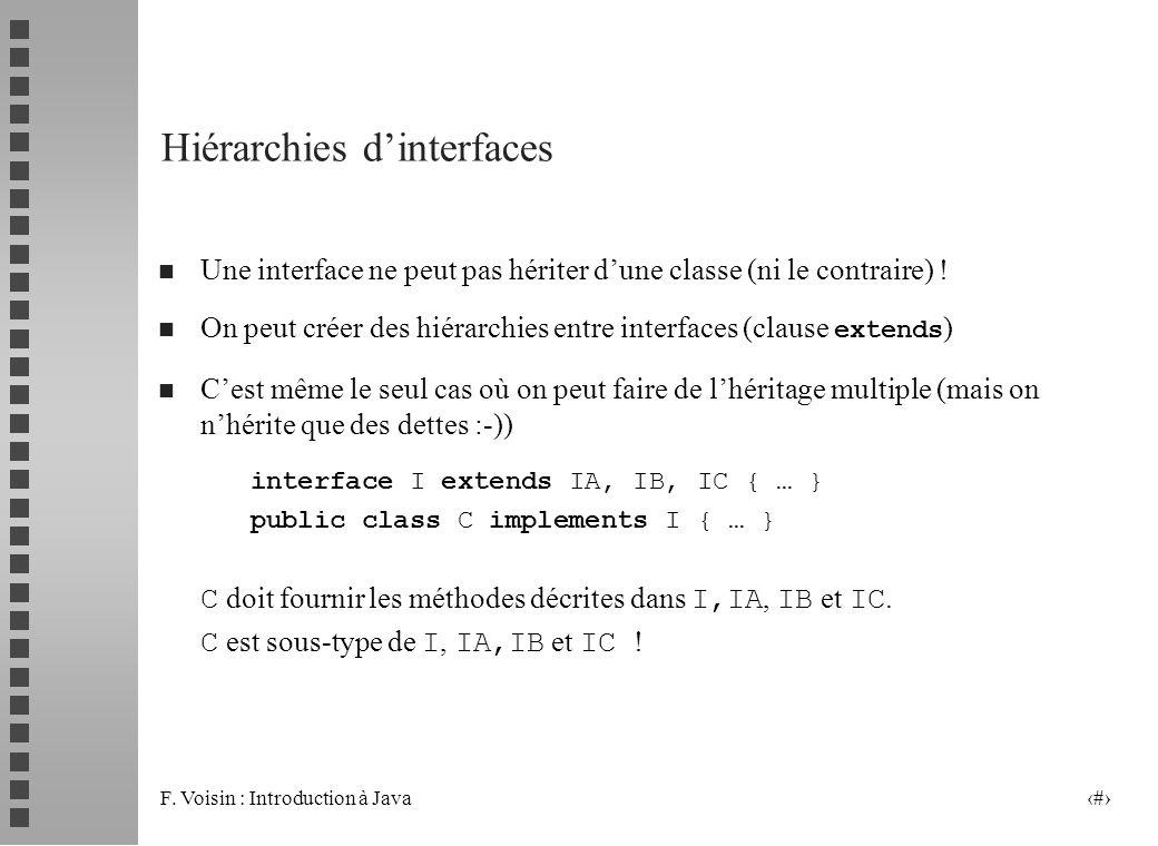 F. Voisin : Introduction à Java 8 Hiérarchies dinterfaces n Une interface ne peut pas hériter dune classe (ni le contraire) ! On peut créer des hiérar