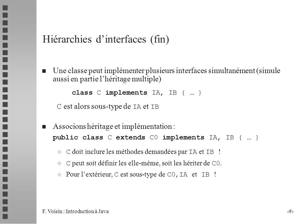 F. Voisin : Introduction à Java 9 Hiérarchies dinterfaces (fin) n Une classe peut implémenter plusieurs interfaces simultanément (simule aussi en part