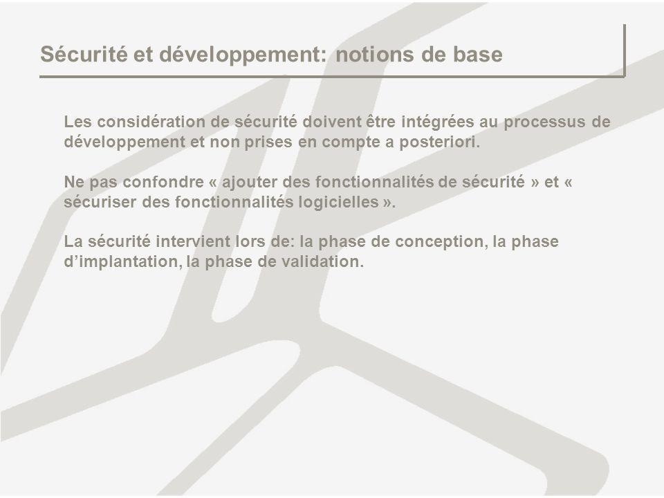 Sécurité et développement: notions de base Les considération de sécurité doivent être intégrées au processus de développement et non prises en compte