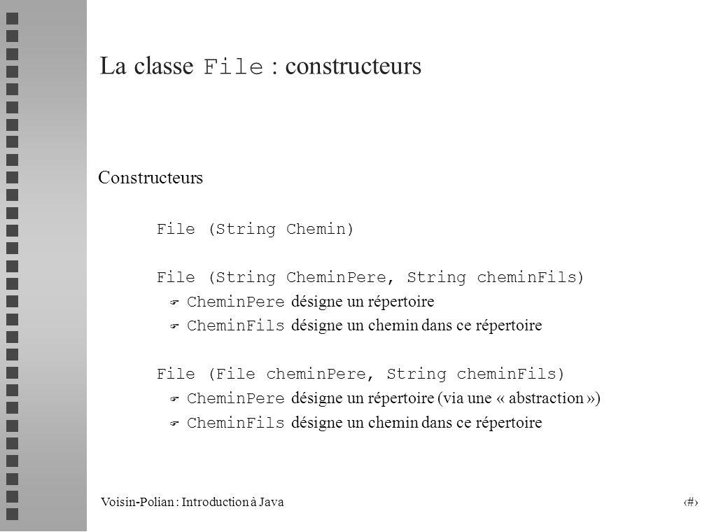 Voisin-Polian : Introduction à Java 12 La classe FILE La classe File permet de modéliser les chemins daccès aux fichiers (et aux répertoires).