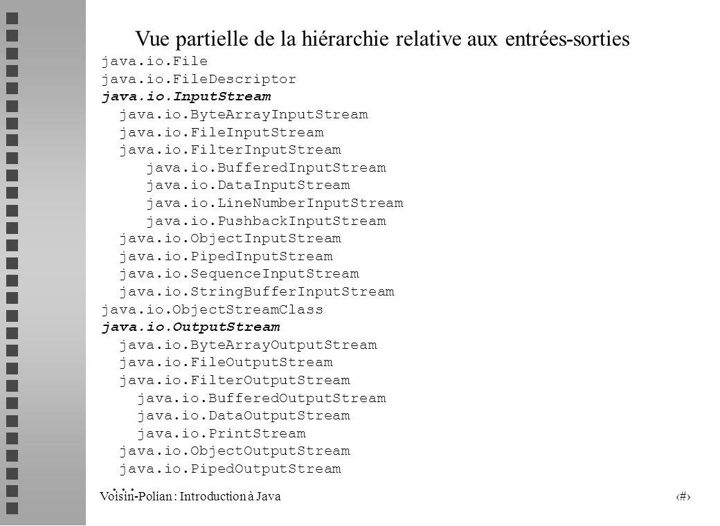 Voisin-Polian : Introduction à Java 2 Vue partielle de la hiérarchie relative aux entrées-sorties java.io.File java.io.FileDescriptor java.io.InputStream java.io.ByteArrayInputStream java.io.FileInputStream java.io.FilterInputStream java.io.BufferedInputStream java.io.DataInputStream java.io.LineNumberInputStream java.io.PushbackInputStream java.io.ObjectInputStream java.io.PipedInputStream java.io.SequenceInputStream java.io.StringBufferInputStream java.io.ObjectStreamClass java.io.OutputStream java.io.ByteArrayOutputStream java.io.FileOutputStream java.io.FilterOutputStream java.io.BufferedOutputStream java.io.DataOutputStream java.io.PrintStream java.io.ObjectOutputStream java.io.PipedOutputStream...