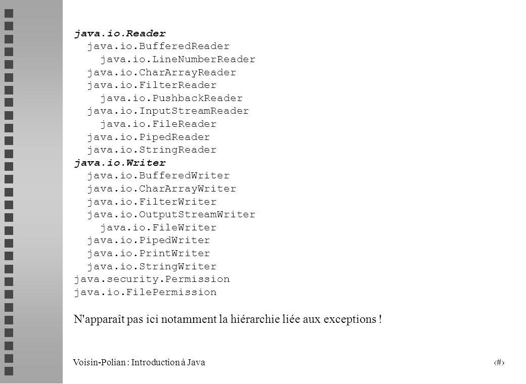 Voisin-Polian : Introduction à Java 13 La classe File : constructeurs Constructeurs File (String Chemin) File (String CheminPere, String cheminFils) CheminPere désigne un répertoire CheminFils désigne un chemin dans ce répertoire File (File cheminPere, String cheminFils) CheminPere désigne un répertoire (via une « abstraction ») CheminFils désigne un chemin dans ce répertoire