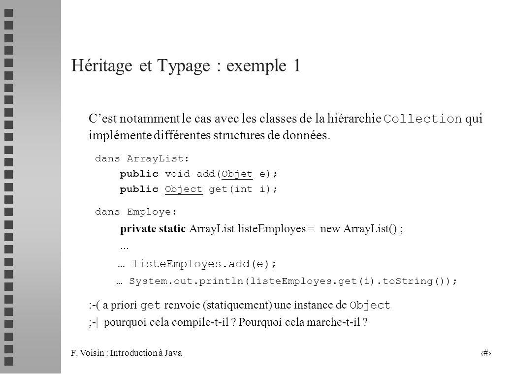 F. Voisin : Introduction à Java 12 Héritage et Typage : exemple 1 Cest notamment le cas avec les classes de la hiérarchie Collection qui implémente di