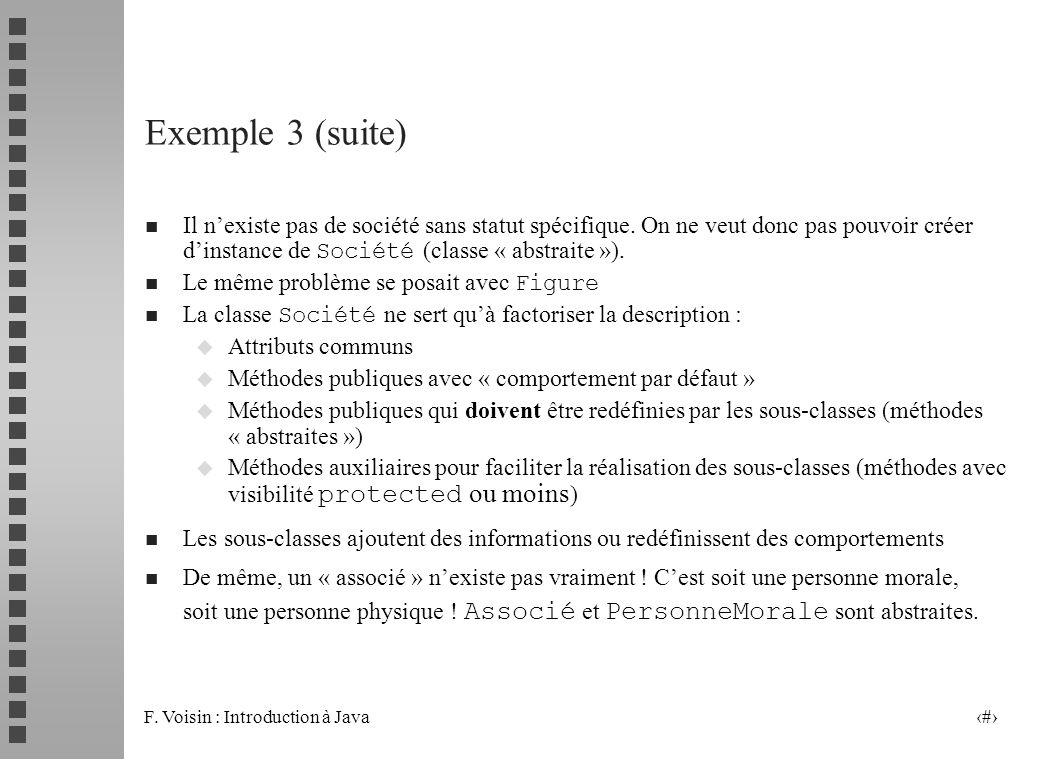 F. Voisin : Introduction à Java 16 Il nexiste pas de société sans statut spécifique. On ne veut donc pas pouvoir créer dinstance de Société (classe «