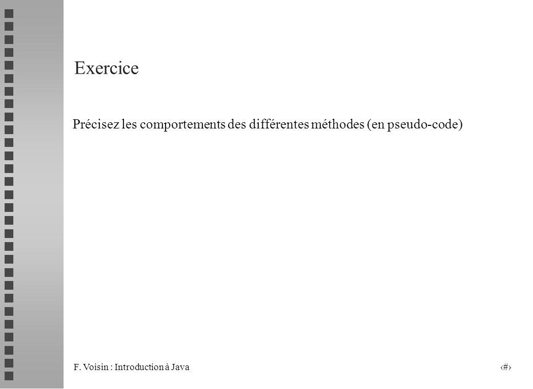F. Voisin : Introduction à Java 17 Exercice Précisez les comportements des différentes méthodes (en pseudo-code)