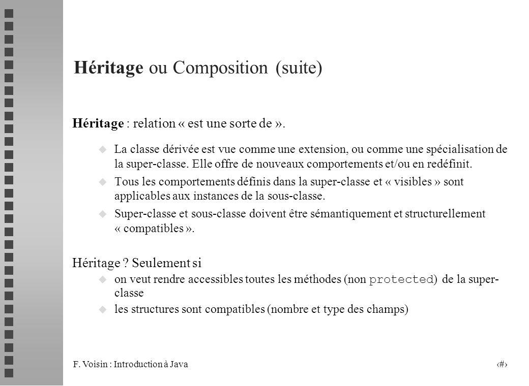 F. Voisin : Introduction à Java 20 Héritage ou Composition (suite) Héritage : relation « est une sorte de ». u La classe dérivée est vue comme une ext