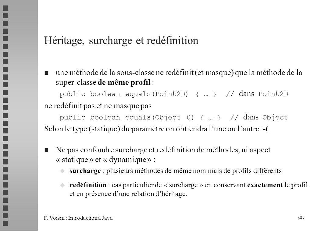 F. Voisin : Introduction à Java 23 Héritage, surcharge et redéfinition n une méthode de la sous-classe ne redéfinit (et masque) que la méthode de la s