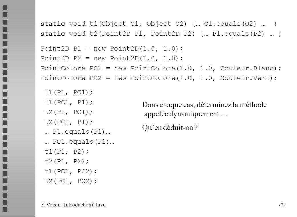 F. Voisin : Introduction à Java 26 static void t1(Object O1, Object O2) {… O1.equals(O2) … } static void t2(Point2D P1, Point2D P2) {… P1.equals(P2) …
