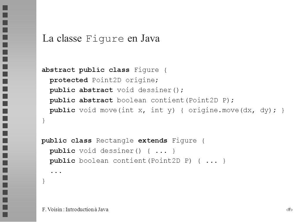 F. Voisin : Introduction à Java 31 La classe Figure en Java abstract public class Figure { protected Point2D origine; public abstract void dessiner();